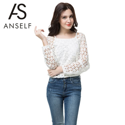 Anself Chic Crochet Lace V-Neck Long Sleeve Blouse with Vest for WomenTops &amp; Vests<br>Anself Chic Crochet Lace V-Neck Long Sleeve Blouse with Vest for Women<br><br>Blade Length: 20.0cm