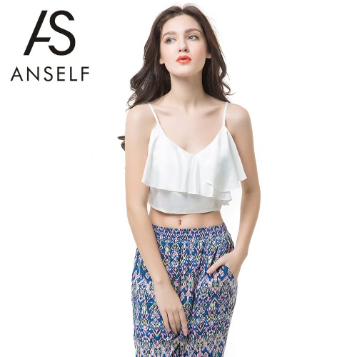 Buy Sexy Women Crop Top Vest Ruffle Layers Backless Spaghetti Strap V Neck Solid Bralet Tank Casual Blouse White