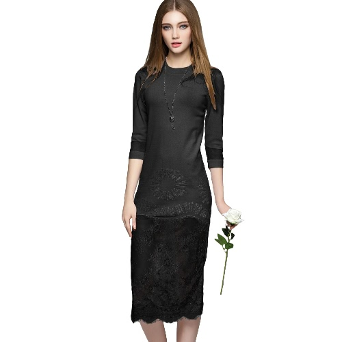 New Women High Quality Midi Knitted Dress Lace Mesh Splice O-Neck 3/4 Sleeves Slim Elegant Party Dress White/Black/Light Grey G2062B-L