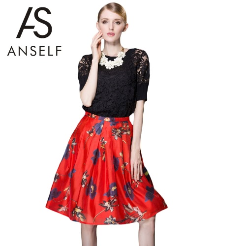 Buy Fashion Women Skirt Floral Print Zipper Back Contrast Color Pleated Midi Red