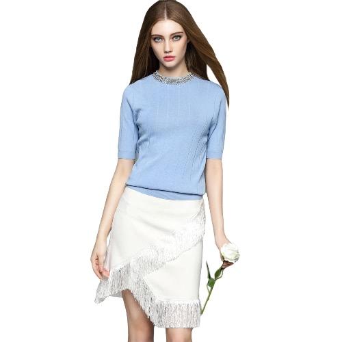 New Elegant Women Knitted Sweater Bead Rhinestone Half Sleeve Solid Slim Knitwear Pullover Jumper Tops Pink/White/Blue G2082BL-L