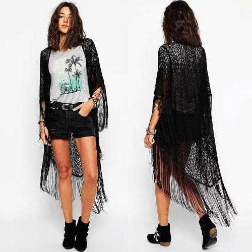 Buy Fashion Women Long Cardigan Crochet Lace Tassel Half Sleeve Irregular Hem Outwear Black