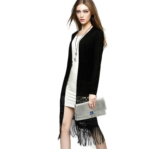 Buy Fashion Women Cardigan Open Front Crochet Lace Tassel Fringe Long Sleeve Solid Casual Outwear Yellow/Black