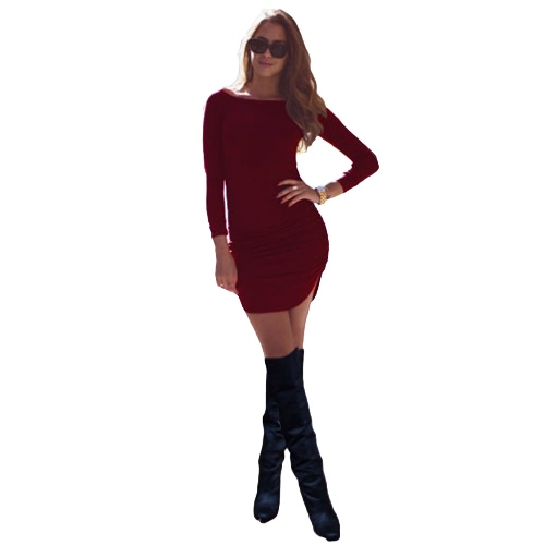 New Fashion Women Dress Solid Ruched Design Curved Hem Round Neck Long Sleeve Slim Fit Casual One-Piece Black/Grey/BurgundyDresses<br>New Fashion Women Dress Solid Ruched Design Curved Hem Round Neck Long Sleeve Slim Fit Casual One-Piece Black/Grey/Burgundy<br><br>Blade Length: 28.0cm
