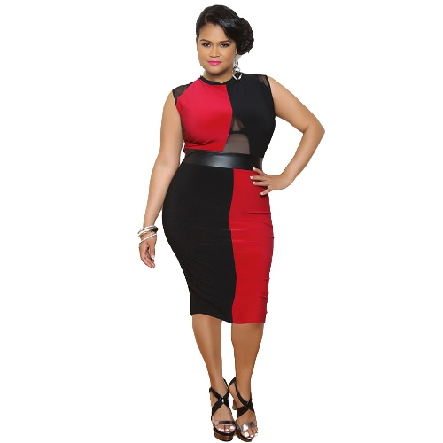 New Fashion Women Dress Contrast Color Mesh Splicing Hollow Out Zipper O-Neck Sleeveless Large Size Dress Red G2160R-5XL