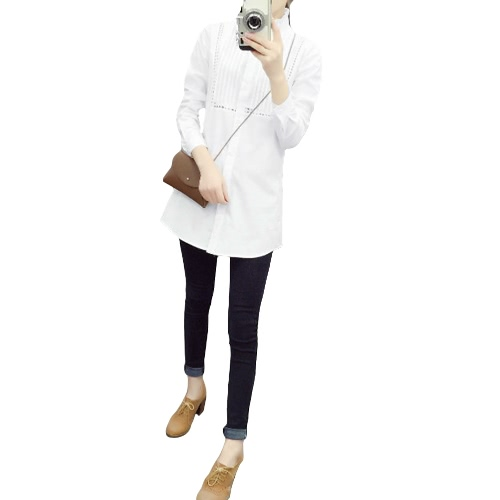 Buy Fashion Women OL Shirt Hollow Ruffle Stand Collar Long Sleeve Button Blouse Top White