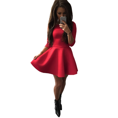 Fashion Women Dress O-Neck 3/4 Sleeve Back Zipper Solid Color Party A-lined Mini Dress Black/Red/Grey