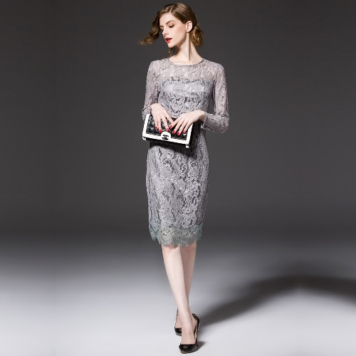 Buy Anself Elegant Hollow Round Neck Long Sleeve Bow Design Lined Women's Party Lace Dress