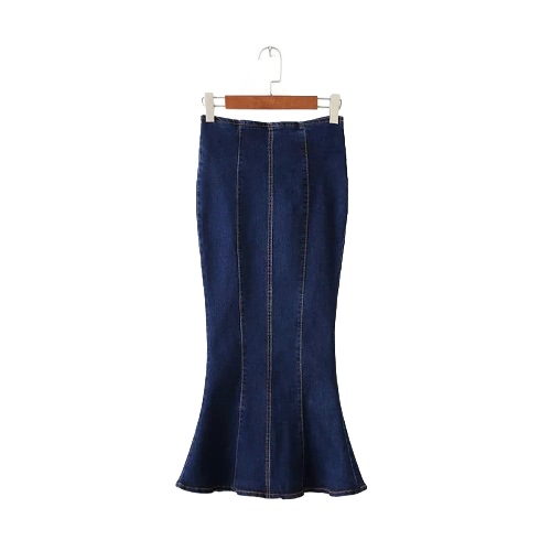 Buy Fashion Women Midi Denim Skirt Mermaid Hem Package Hip Zipper Solid Color Casual Bodycon Blue