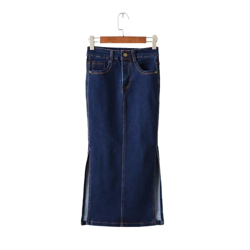 Buy Sexy Women Midi Denim Skirt Split Package Hip Pockets Zipper Button Solid Color Casual Bodycon Blue