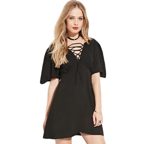 Fashion Women Dress Lace Up Front Deep V Neck Short Sleeves Back Zipper Mini A-Line Dress Black G2341B-XXL