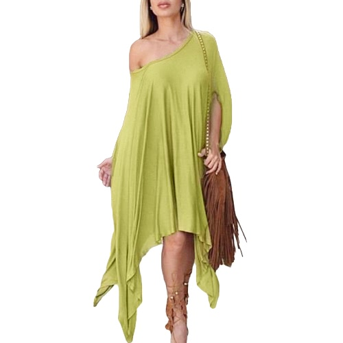 New Fashion Women Dress Poncho Design Asmmetric Dipped Hemline Round Neck Half Sleeve Oversize Casual One-PieceDresses<br>New Fashion Women Dress Poncho Design Asmmetric Dipped Hemline Round Neck Half Sleeve Oversize Casual One-Piece<br><br>Blade Length: 28.0cm