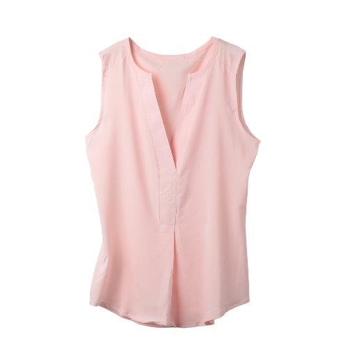 Summer Women Chiffon Blouse V Neck Sleeveless Draped Front Loose Casual Top Black/Watermelon Red/PinkShirts &amp; Blouses<br>Summer Women Chiffon Blouse V Neck Sleeveless Draped Front Loose Casual Top Black/Watermelon Red/Pink<br><br>Blade Length: 31.0cm