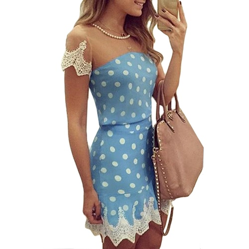 New Sexy Women Mini Dress Mesh Splice Crochet Lace Dot Print Short Sleeve Necklace Slim Elegant Party Clubwear BlueDresses<br>New Sexy Women Mini Dress Mesh Splice Crochet Lace Dot Print Short Sleeve Necklace Slim Elegant Party Clubwear Blue<br><br>Blade Length: 27.0cm