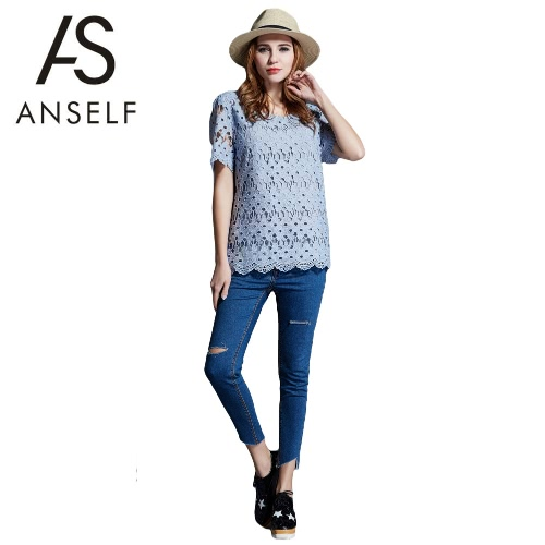 Buy Fashion Women Plus Size Blouse Crochet Lace Hollow Short Sleeve Casual Loose T-shirt Pullover Shirt Tops Light Grey