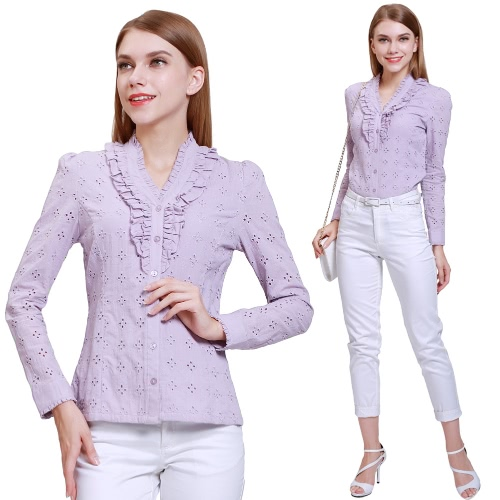 Buy Fashion Women Cotton Shirt Embroidery Laciness Hollow Button V-Neck Long Sleeve Solid Blouse Top Purple