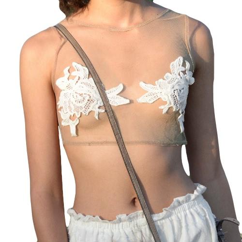 New Sexy Women Crop Top Sheer Mesh Crochet Lace Round Neck Sleeveless Tank Top Beige