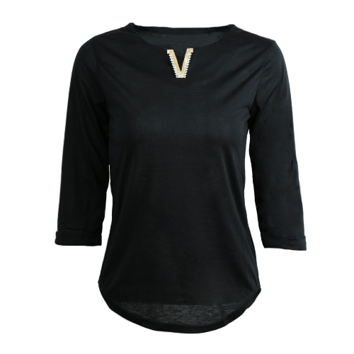 Casual Metal Decoration V-Neck Half Sleeve Womens Solid Color T-ShirtShirts &amp; Blouses<br>Casual Metal Decoration V-Neck Half Sleeve Womens Solid Color T-Shirt<br><br>Blade Length: 15.0cm