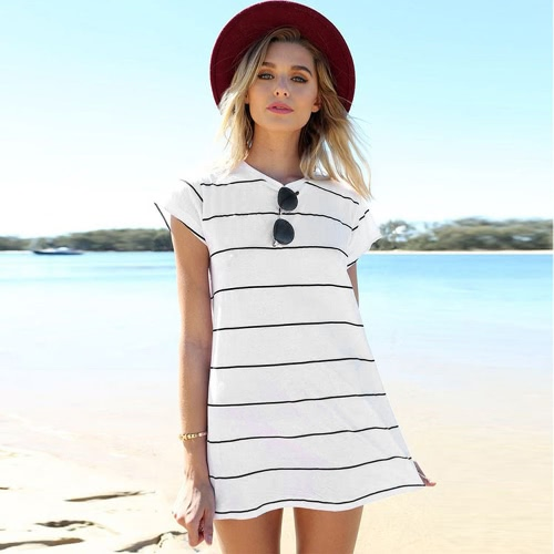 New Fashion Women Dress O-Neck Short Sleeve Striped Fashion A-Line Dress White