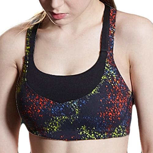 Buy Fashion Women Sports Bra Print Seamless Wireless Padded Stretch Breathable Yoga Gym Vest Black/Purple
