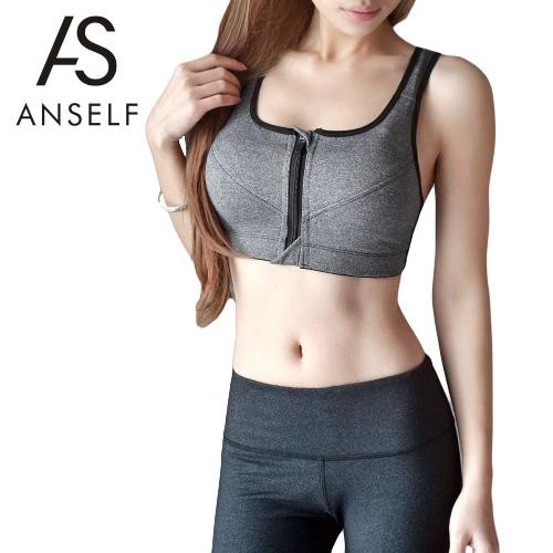 Fashion Women Sports Bra Front Zipper Wireless Back Strap Padded Stretch Breathable Yoga Gym Vest G2505GY-M