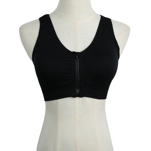New Fashion Women Sports Bra Push Up Zipper Wireless Padding Fitness Stretch Breathable Yoga Gym Underwear Vest G2510B-L