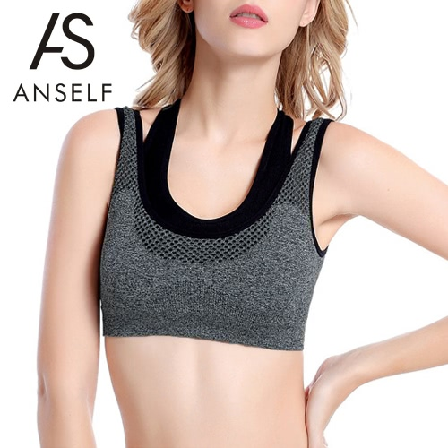 Women Professional Push-Up Sports Bra Fake Two-Piece Mesh Yoga Fitness Vest Bra Workout Running Tank Top