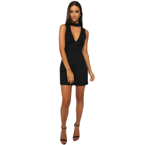New Fashion Women Mini Dress V-Neck Sleeveless Back Zipper Sexy A-Line Dress BlackDresses<br>New Fashion Women Mini Dress V-Neck Sleeveless Back Zipper Sexy A-Line Dress Black<br><br>Blade Length: 20.0cm