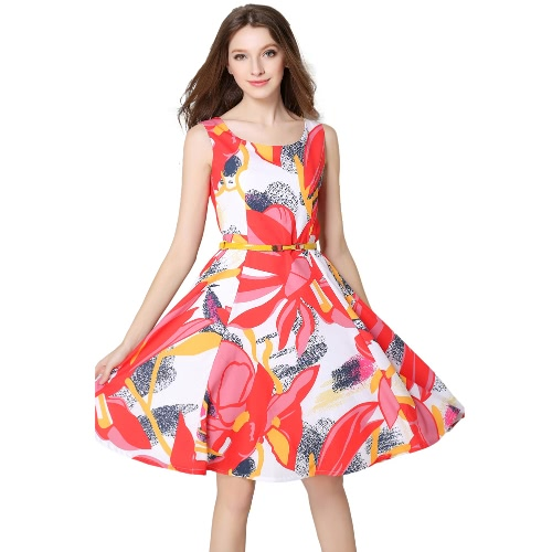 Buy Europe Women Floral Print Dress Flower Sleeveless O Neck Slim Lady Elegant Spring Belt Red