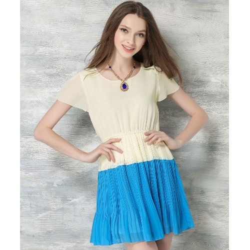 Buy Women Summer Chiffon Dress Contrast Color O-Neck Short Sleeve Cute Pleated Necklace Orange/Blue/Green