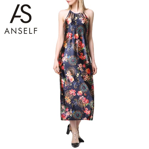 New Sexy Summer Women Long Dress Floral Print Halter O Neck Sleeveless Elegant Vintage Spaghetti Strap Slip Dress Black