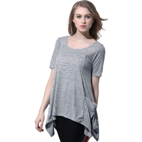 New Fashion Women Knitting Overtop O-Neck Short Sleeves Pockets Asymmetric Hem Casual Pullover Top GreyKnitwear<br>New Fashion Women Knitting Overtop O-Neck Short Sleeves Pockets Asymmetric Hem Casual Pullover Top Grey<br><br>Blade Length: 20.0cm