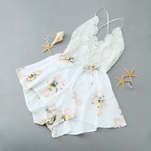 New Fashion Women Playsuit Crochet Lace Floral Print Plunge V Neck Sleeveless Casual Jumpsuit White G2623W-XL