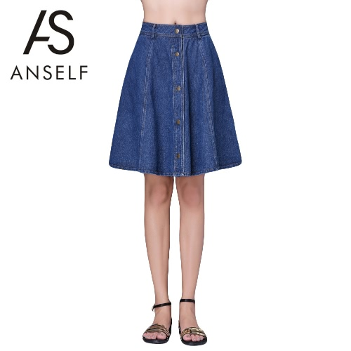 Buy Fashion Women Mini Denim Skirt Plus Size Button Solid Color Elegant Casual Loose A-Line Blue
