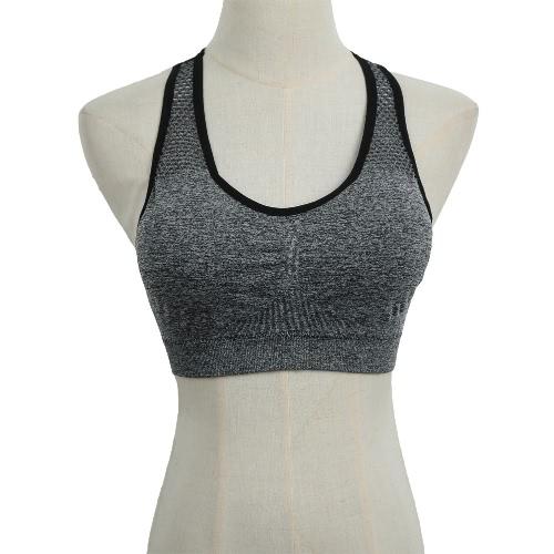 New Fashion Women Sports Bra Push Up Wireless Padding Seamless Fitness Stretch Breathable Yogo Gym Underwear Vest G2640GY-L