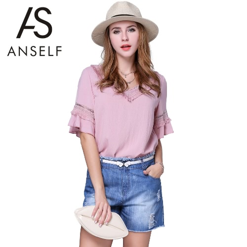 New Fashion Women Chiffon Blouse Plus Size Hollow Out V-Neck Tassels Ruffled Sleeves Curve Hem Solid Color Top Pink G2664P-5XL