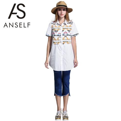 Fashion Women Long Blouse Plus Size Geometric Pattern Turn Down Collar Buttons Short Sleeve Asymmetrical Hem Casual Top Shirt White