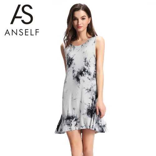 New Sexy Summer Women Mini Dress Tie-Dye Ink Print O Neck Sleeveless Soft Elegant Casual Sundress Black