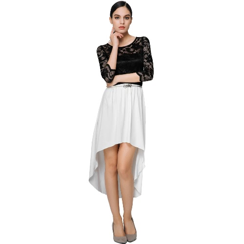 New Fashion Women Dress Lace Insert Hollow Out Asymmetric Hem O-Neck Three-Quarter Sleeves Sexy Dress Black/WhiteDresses<br>New Fashion Women Dress Lace Insert Hollow Out Asymmetric Hem O-Neck Three-Quarter Sleeves Sexy Dress Black/White<br><br>Blade Length: 20.0cm