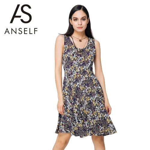 New Fashion Women Dress Floral Print Color Block Round Neck Sleeveless Mini Vintage One-Piece Yellow