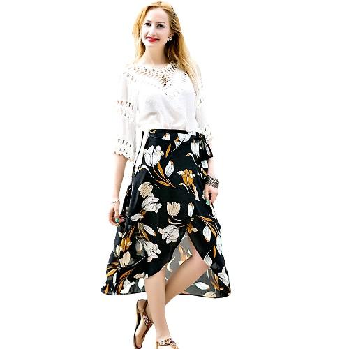Fashion Women Chiffon Skirt Vintage Floral Print Asymmetric Hem Button Closure Belt Lining Midi Skirt BlackFashion Women Chiffon Skirt Vintage Floral Print Asymmetric Hem Button Closure Belt Lining Midi Skirt Black<br><br>Blade Length: 20.0cm