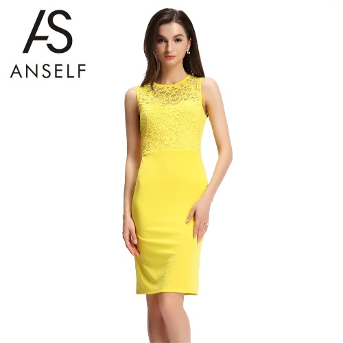 Buy Sexy Women Sleeveless Dress Lace Splice Cut Back Slim Bodycon Mini Evening Party Clubwear Yellow