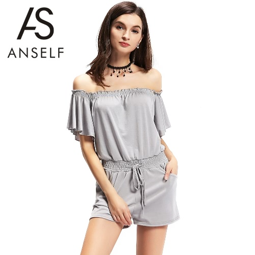 New Fashion Women Off the Shoulder Jumpsuit Elastic Waistband Front Pockets Romper Playsuit GreyJumpsuits &amp; Rompers<br>New Fashion Women Off the Shoulder Jumpsuit Elastic Waistband Front Pockets Romper Playsuit Grey<br><br>Blade Length: 23.0cm