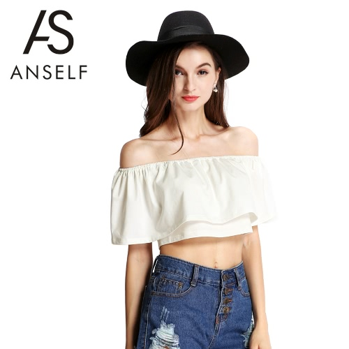New Fashion Women Crop Top Boho Off The Shoulder Stretch Trim Frilled Overlay Solid Casual Tops BeigeShirts &amp; Blouses<br>New Fashion Women Crop Top Boho Off The Shoulder Stretch Trim Frilled Overlay Solid Casual Tops Beige<br><br>Blade Length: 27.0cm