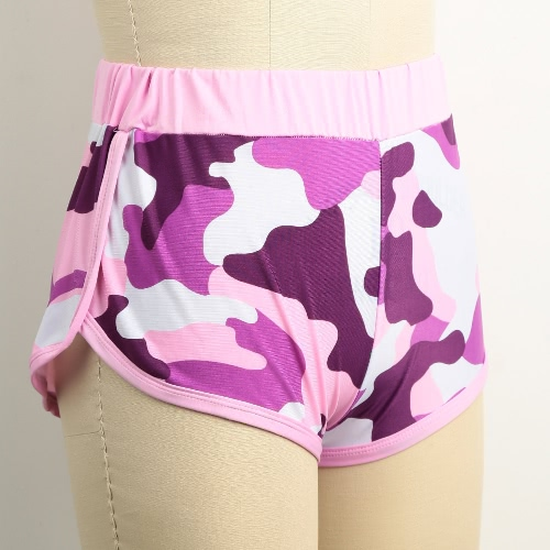 New Fashion Women Camo Sport Shorts Contrast Binding Split Side Elastic Waist Yoga Fitness Running Gym Shorts Pink/Black