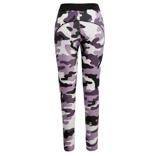 Fashion Women Sports Pants Camo Contrast Elastic Waist Running Fitness Yoga Trousers Workout Leggings Black/Pink