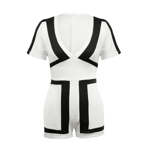 Women Jumpsuit Contrast Color-block Splicing Plunge V Neck Back Zipper Short Sleeve Playsuit Rompers Black/White