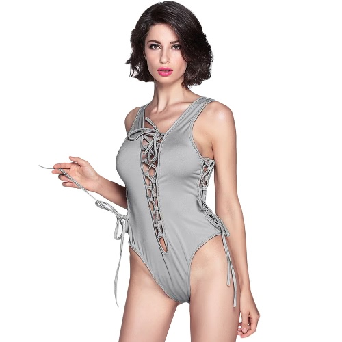 Sexy Lace Up Strap Hollow Out High Cut Plunge V Neck Sleeveless Women's Bodysuit Playsuit