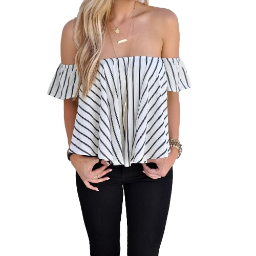 New Fashion Women Blouse Striped Off Shoulder Short Sleeve Summer Casual Tops Shirts Crop Top White