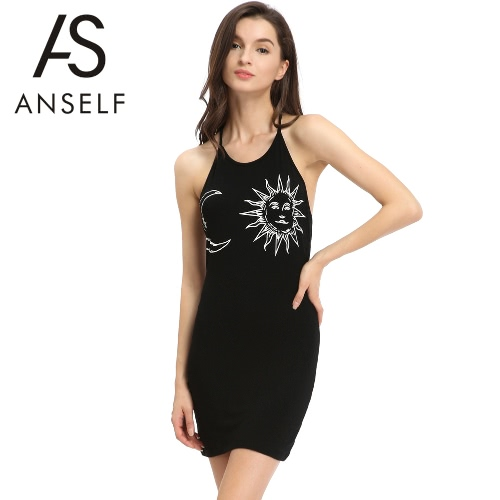 Summer Women Dress Sundress Halter Sun Moon Print Open Back O Neck Sleeveless Mini Tank Dress Beachwear BlackDresses<br>Summer Women Dress Sundress Halter Sun Moon Print Open Back O Neck Sleeveless Mini Tank Dress Beachwear Black<br><br>Blade Length: 26.0cm